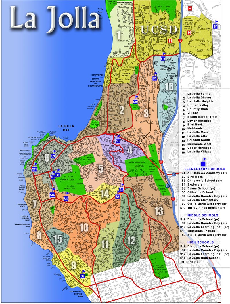 Map Of La Jolla Ca Areas Communities Of La Jolla California